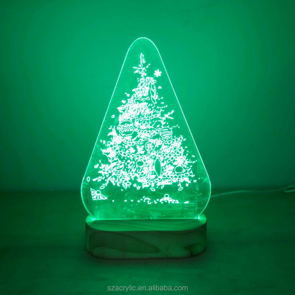 Acrylic Christmas tree 3D LED light acrylic Christmas decoration 3d light display
