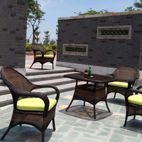 Outdoor leisure plait rattan table and chairs
