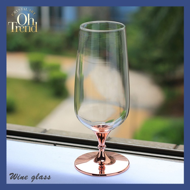 Glassware manufacturer top drawer handmade lead free clear crystal gold stem beer glass mug wine glass