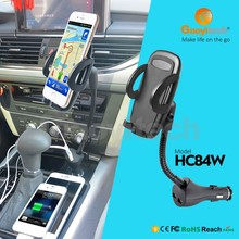 Dual USB Port Car Charger Cell Phone Mount Holder WITH goosneck