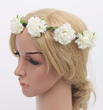 Creamy White Flower Rose Ribbon Half Crown Headband Princess Crown Headband Girls Crown Headband B526