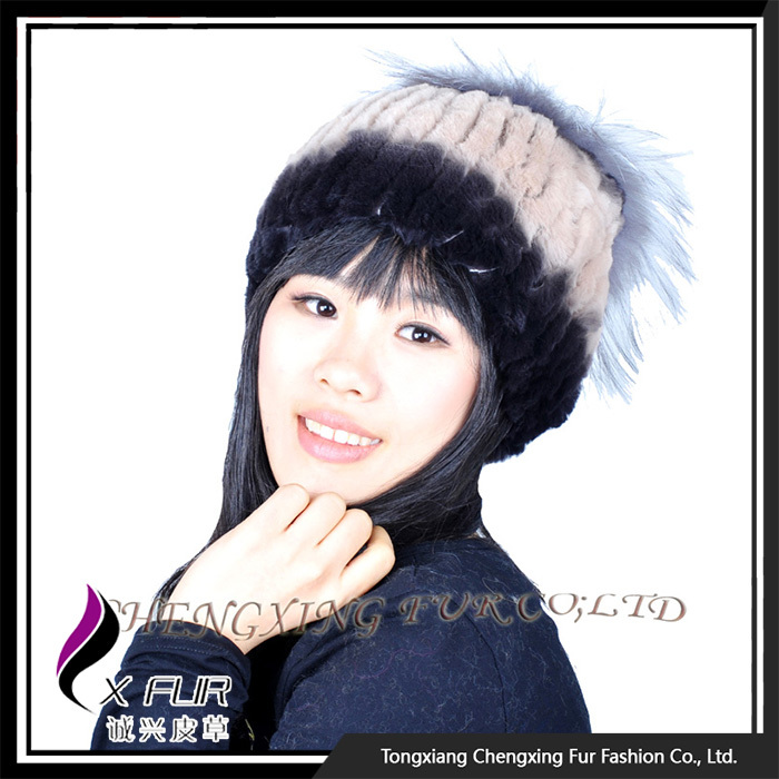 CX-C-121F OEM/ODM New Design Rex Rabbit Fur Headwear Furry Winter Hat