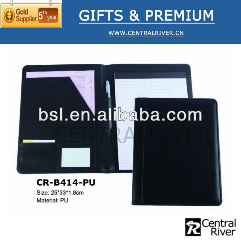 PU a4 business gift bag / business leather decorative a4 paper file folder hot sale