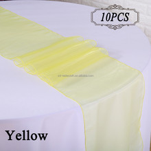 Yellow wedding Banquet table decoration organza table runner