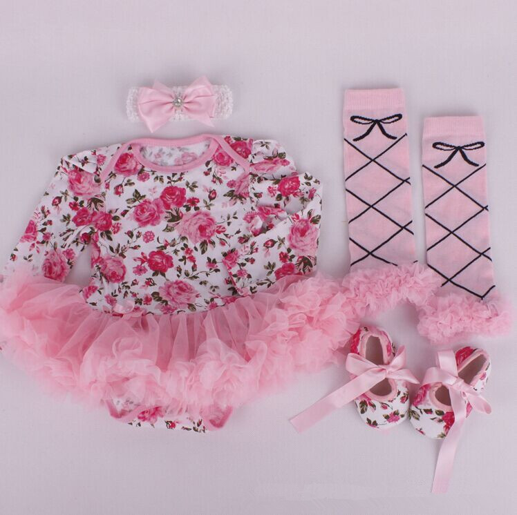 L-5856-4 New baby girl's flower printed baby tutu dress+legging +shoes+headband 4pcs baby clothing set
