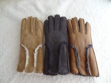 Gray colour 100% Bering Lamb skin leather touch screen gloves for men