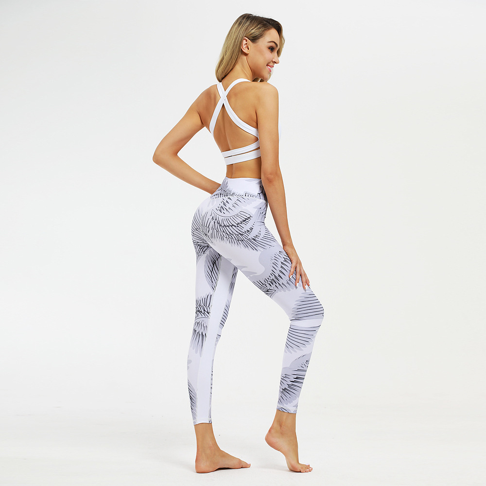 2019 Europe and the United States new wings printed yoga pants sports leggings tight fitness pants yoga clothes