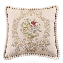 Home decor cotton pillow or sofa backrest pillow cushion cotton embroidery good quality car/hotel/bedding cushion