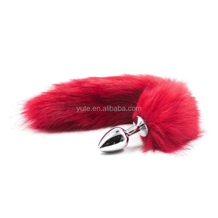 free shipping fox tail butt plug anal insert stainless steel sex