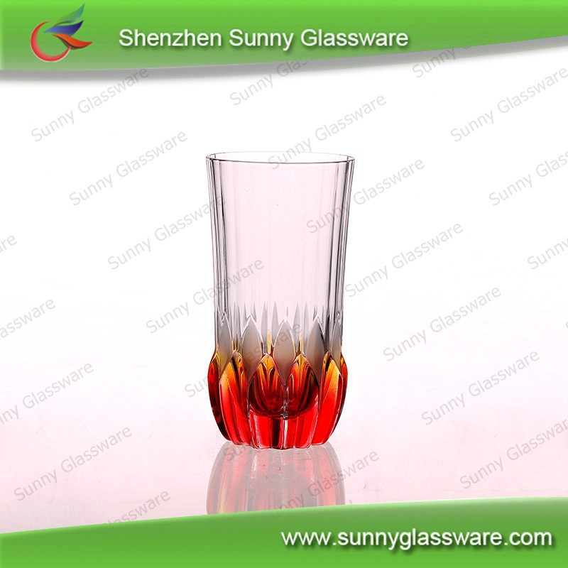 Machine pressed red bottom tupe drinking glass cup wholesale