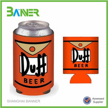 Promotional pattern sublimation insulated foldable floating beer can holder