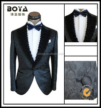 2014 new style slim fit black tuxedo for men jacquard blazer