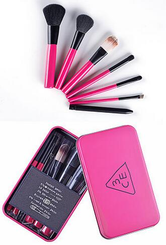 New Design 7pcs Colorful Make up Factory in Stock Latest Fads with Metal Box 7pcs Makeup brushes set