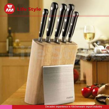 5 pcs stainless steel kitchen knife set with wooden & stainless steel block