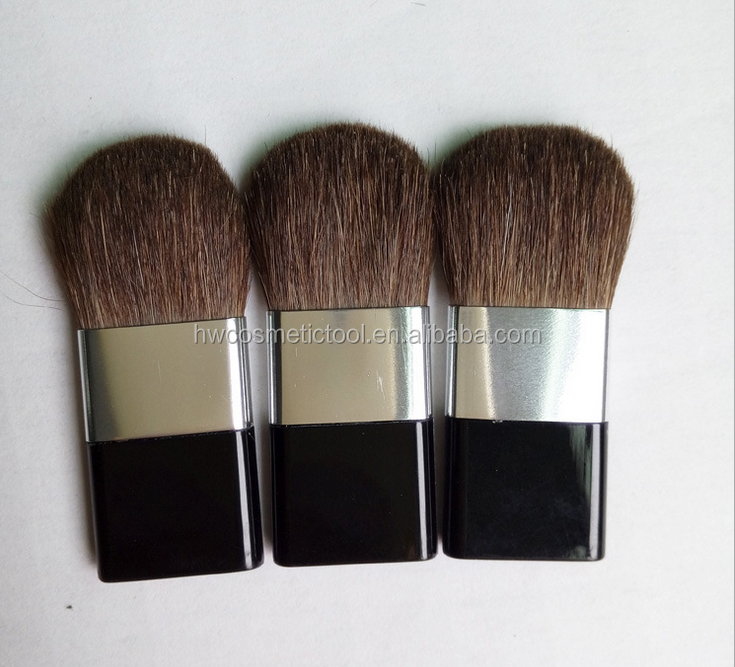 Flat cosmetic compact powder blush brush pony hair