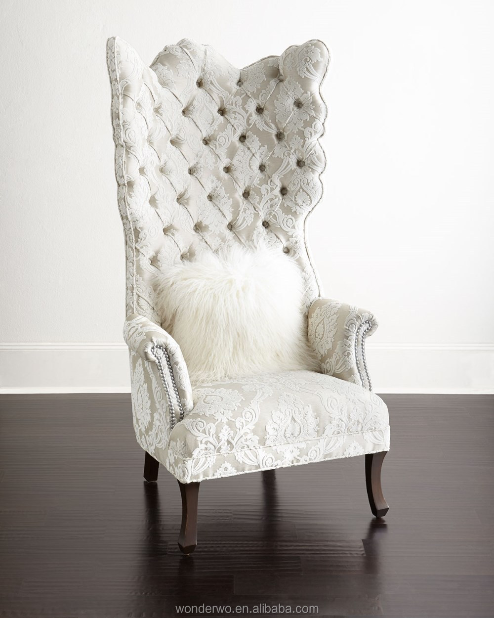 Tufted Wing Chair high back chair Silver-tone nailhead trim curved ...
