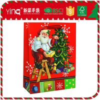 Yiwu Yina/ OEM ivory paper wholesale christmas gift packaging tree shopping bag