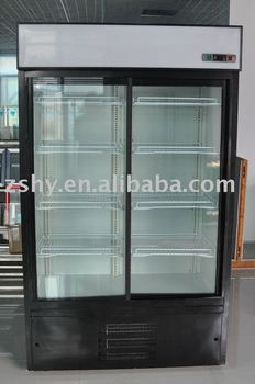 Sliding glass door upright showcase