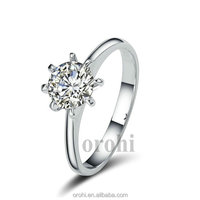 Simple Elegant Women Solitaire Prong Set 9k 14k 18k White Gold Diamond Engagement Ring