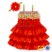 Toddler Princess Lace Satin Dress Red Christmas Wedding Dresses Baby Smocked Christmas Dresses