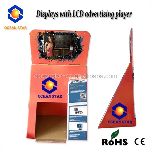 video display stand with usb Desktop video advertising display stand cardboard