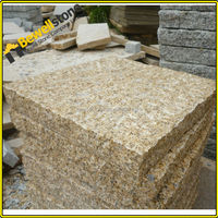 Bushhammered g682 yellow granite stone patio rectangle pavers