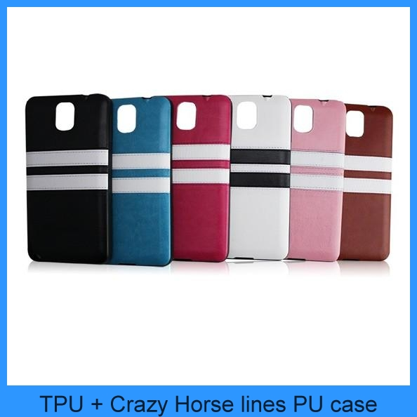 For Samsung Galaxy S5 SV I9600 New Slim Soft TPU Case Cover + Crazy Horse Lines PU Leather Skin Galaxy S5 i9600 Case