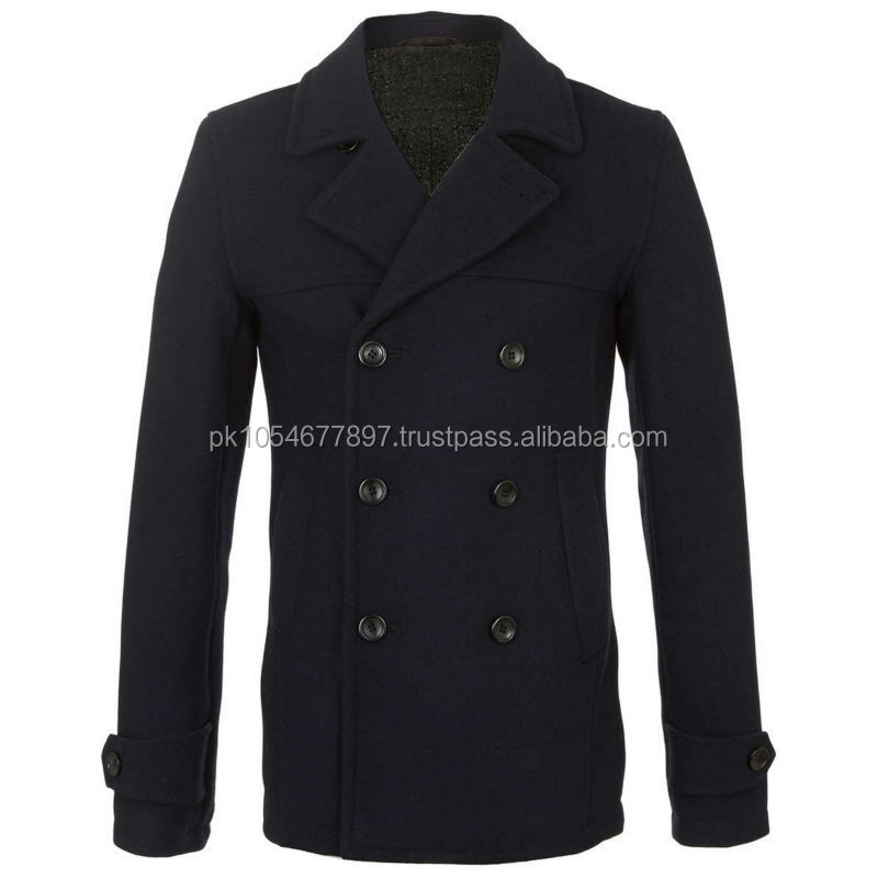 Navy Blue Skinny Wool Pea Coat