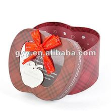 Elaborate apple shape gift box/packaging box with ribbon bow& PVC window
