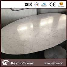 Polished Carrara Marble Stone Oval Table Tops For Dinning
