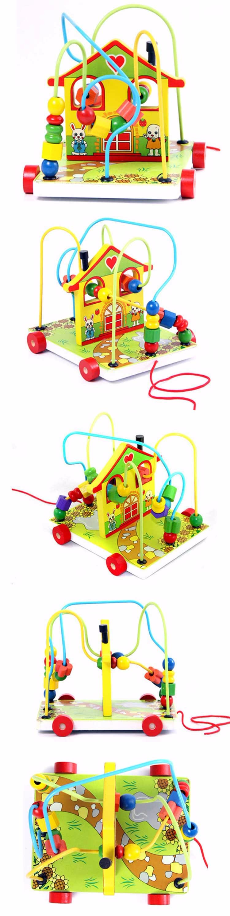 Hot Sell children toys Wholesale baby toy wooden Wooden beads wire maze toy