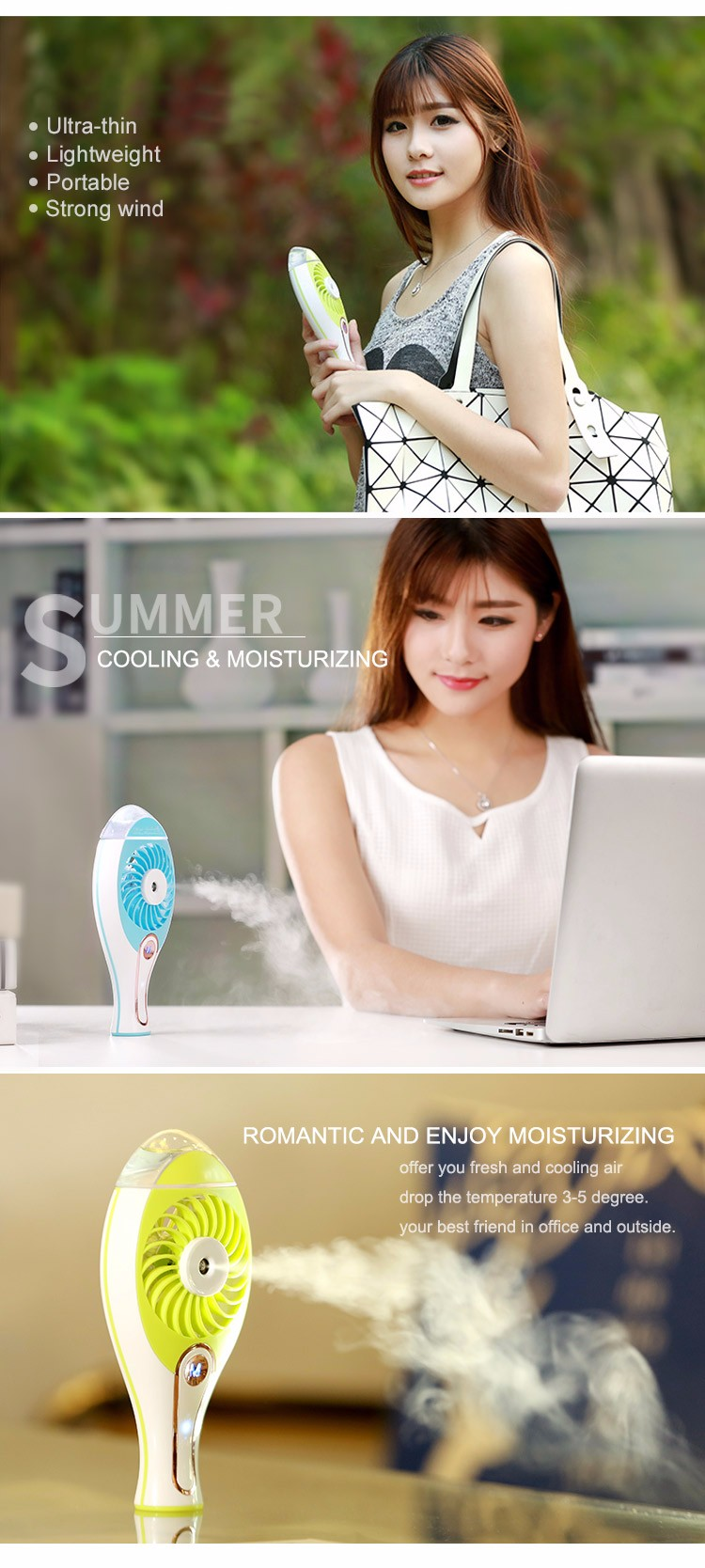 shenzhen battery powered office personal single room cool mist air cooler fan humidifier fan for face mini and air purifier