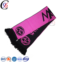 Chengxing custom scarf knitted fashion football soccer fan acrylic sport cheap jacquard soccer lady embroidered scarf