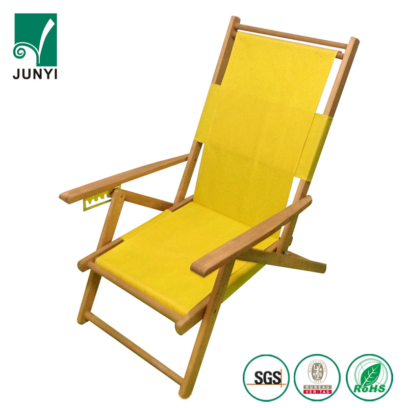 Wood beach furniture folding double sun armchair foldable canvas beach wooden deck chair