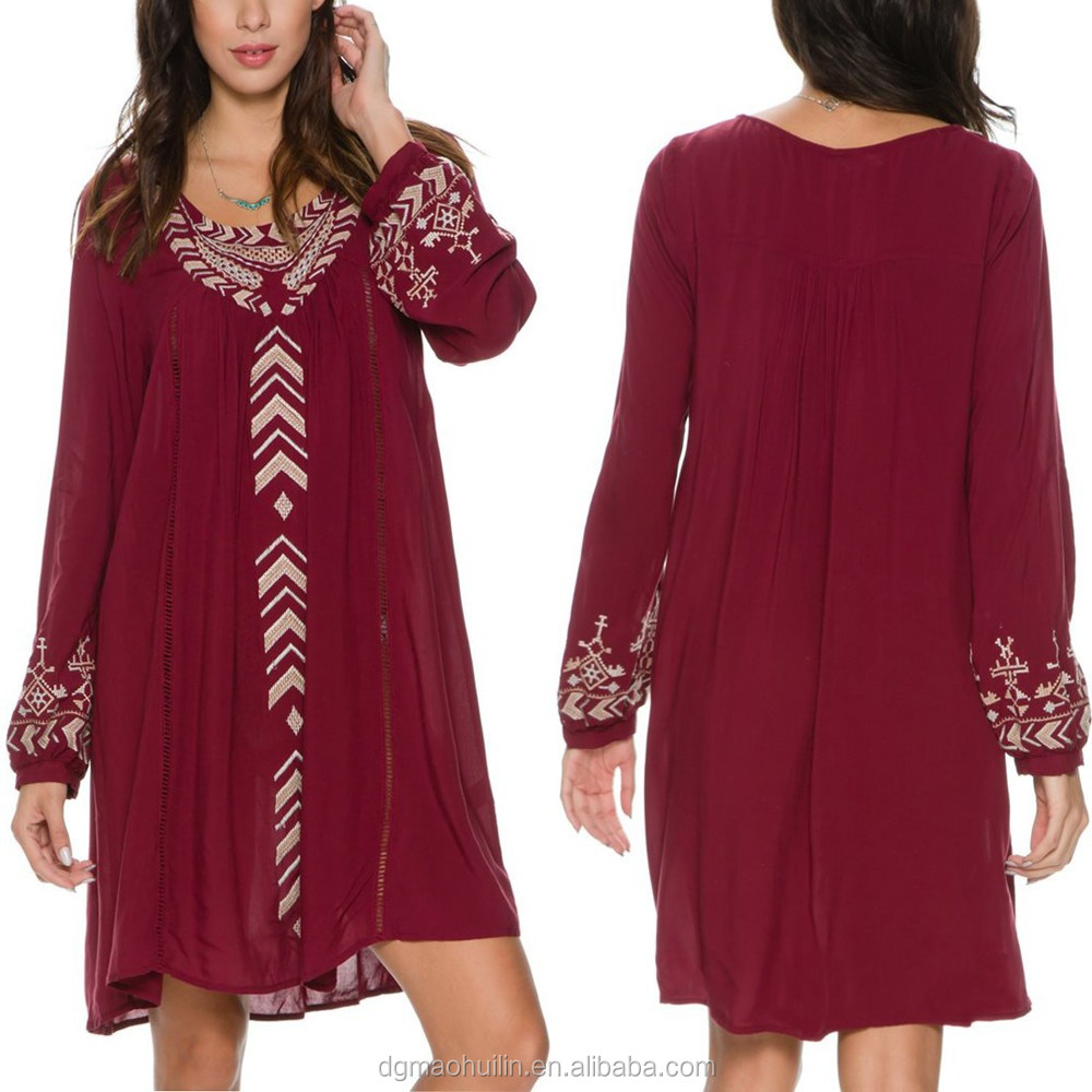 china wholesale ladies long sleeves casual wine red embroidered dress sexy girls short boho mini dresses