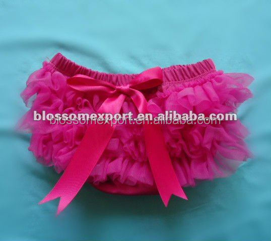 Wholesales hot pink chiffon ruffle tutu bloomers for kids cotton