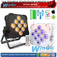rechargeable IRC remote Wedge quad par light /battery-operated 6 in 1 color wash light/ 9 lens RGBAW 6in1 wireless dmx bttery