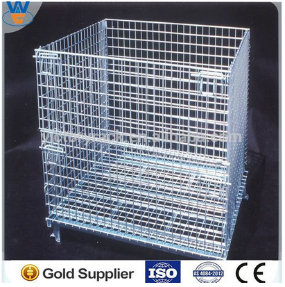 Collapsible wire container rolling storage cage with 4 wheels