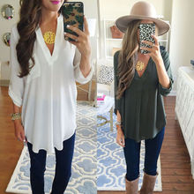 B6914 Women Blouse Fashion Casual Tops Long Sleeves Women Clothes