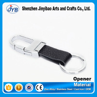 custom embossed logo leather keyrings leather carabiner keychain for sale