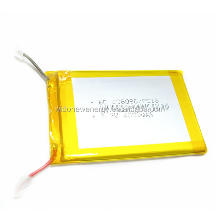 li-polymer 4000mah battery 606090p 3.7v rechargeable lipo battery manufacturer in China wido new energy co ltd