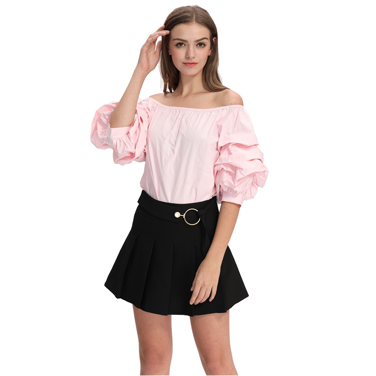 Pink Sexy Off-the-shoulder Backless Strapless Lotus Leaf Sleeve Casual Woman Blouse Wholesale