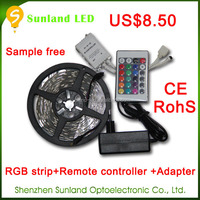 Hot CE RohS 5M 150led RGB SMD5050 led strip light with remote controller and power supply led strip light for clothes