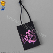 Sinicline fashion custom paper jewelry hang tag with black string