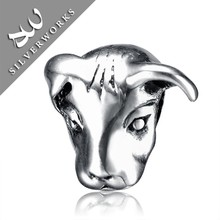 High Polishing 925 Sun Silver Love Beads Jewelry In Cow Shaped Brand Charm