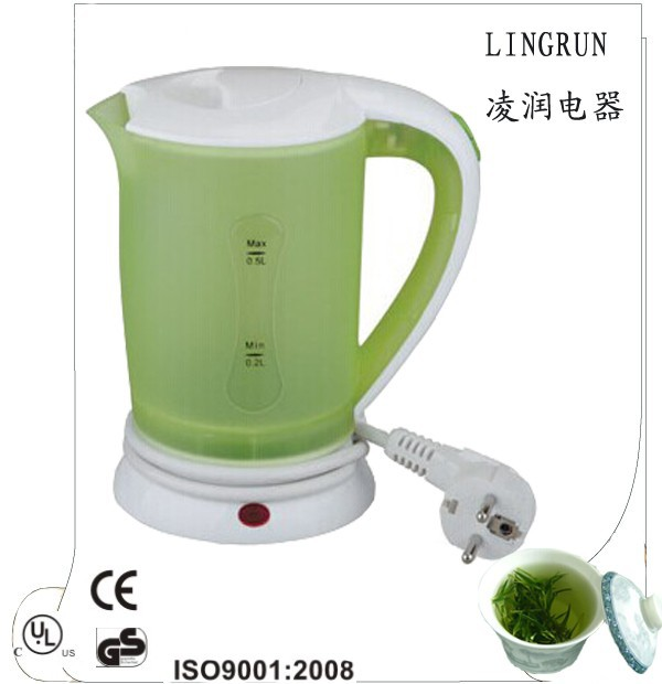 500ml plastic cordless mini green color electric travel kettle