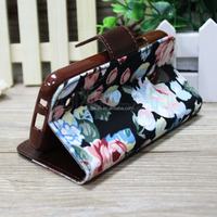 2014 Flower floral design flip leather phone case for samsung Galaxy S4 Mini i9190