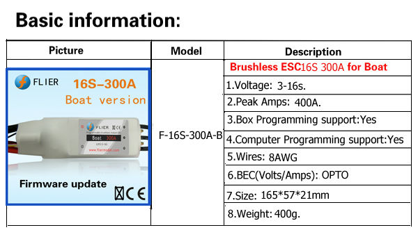 16S 300A RC high power rc 12000w brushless motor controller for boat