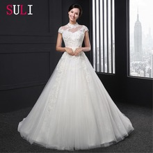 SL-030 High Neck Beading Short Sleeve Ball Gown lace Wedding Dress