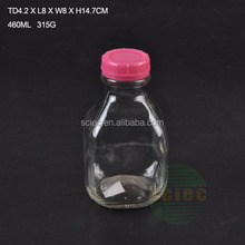 300ml 450ml 1000ml 1L FDA glass milk bottle with plastic lid/ round/square shaped mini glass bottle for water, milk